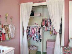 Inspiring Kids Closet Organization- dig the curtain and rod