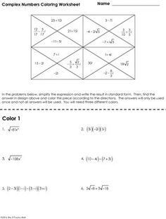Worksheet Complex Numbers Worksheet products activities and relay races on pinterest complex numbers coloring worksheet