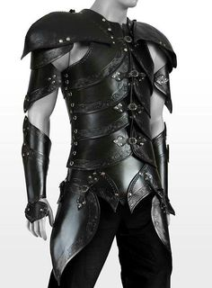 perhaps I can gather some raw leather and create something like this. by katharine Elf Armor, Samurai Armor, Studded Leather Armor, Larp, Male Elf, Black Armor, Armor Clothing, Armadura Medieval, Shoulder Armor