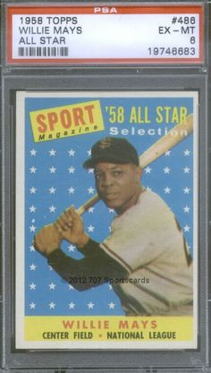 707 Sportscards, Ltd has this item on Collectors Corner - 1958 Topps 486 Willie Mays All Star PSA EX-MT 6