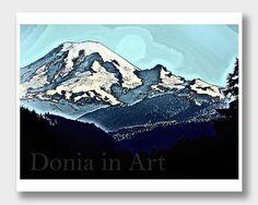 Mount Rainier, Mountain Art, Mt Rainier, Mountain #art #drawing @EtsyMktgTool http://etsy.me/2vD0HrF