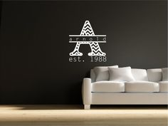 Personalized Chevron Initial Vinyl Wall Decal With Your Family Name Free Shipping on Etsy, $22.00