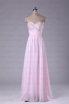 A-line Sweetheart Floor-length Sleeveless Pink Chiffon Prom Dress Bridesmaid Dress Evening Dress Party Dress 2013 With Beading
