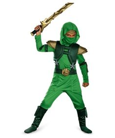 Become a skilled fighter trained in Japanese martial arts! With this exclusive Ninja Ensemble your boy will be thrilled to attend any Halloween Party! Be a proud and happy mommy seeing your son enjoying his Halloween Ninja Costume!  The Green Master Ninja Toddler/ Boys Costume Deluxe is a green ninja jumpsuit that comes with an attached hood and a detachable belt buckle, two toy ninja stars, a padded chest piece and a matching fabric mask.