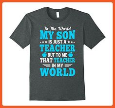 Mens To The World My Son Is Just A Teacher T Shirt XL Dark Heather - Relatives and family shirts (*Partner-Link)