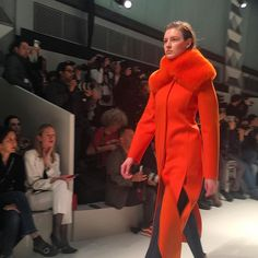 A bolt of juicy orange at the @ferragamo AW17 collection today.   via MARIE CLAIRE AUSTRALIA MAGAZINE OFFICIAL INSTAGRAM - Celebrity  Fashion  Haute Couture  Advertising  Culture  Beauty  Editorial Photography  Magazine Covers  Supermodels  Runway Models