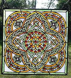 Celtic Ivory Square     Stained Glass Window