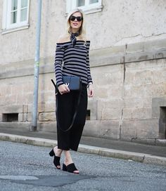 Verena from @SomeHappyShoes is très chic wearing a striped off the shoulder top.   H&M OOTD