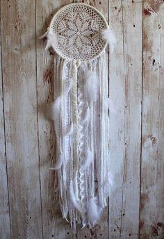 Large Dream Catcher - White - Vintage Lace - Doily Dream Catcher - Nursery decor - Boho - Bohemian - Hippie - Wall Hanging