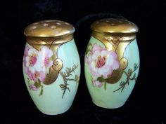 Antique Hand Painted Porcelain Roses Salt Pepper Shakers Deco Signed