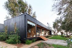 Image 1 of 34 from gallery of Las Escaleras Country House / Prado Arquitectos. Photograph by Daniel Pinilla Shed Homes, Prefab Homes, House Cladding, Casas Containers, Street House, Timber House, Spanish House, House Windows, House In The Woods