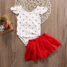 537bb2bddab3 Click to Buy    Cute Newborn Baby Girl Clothes Set 2017 Summer Polka