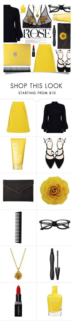 """Yellow Rose (Prettiest Underpinnings)"" by leslee-dawn ❤ liked on Polyvore featuring TIBI, Zimmermann, Clinique, Rebecca Minkoff, NOVICA, GHD, Alex Monroe, Lancôme, Smashbox and Pippa"