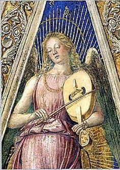 Musician Angel by Luca Signorelli, Sacresty of St. John (1481-1485), fresco, Sanctuary of Loreto (Italy). Angelo musicante di Luca Signorelli, Sacrestia di San Giovanni (1481 -1485), Basilica della Santa Casa di Loreto. #destinazionemarche