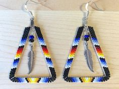 Beaded Triangle Hoop Earrings w/ Feather, Native American Style Beadwork, Black