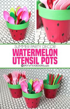 Watermelon Utensil Holders from Terracotta Pots Turn boring terracotta pots into colorful and festive watermelons for summer barbecues and picnics with the help of acrylic paint! Baby Shower Watermelon, Watermelon Birthday Parties, Fruit Birthday, First Birthday Party Themes, Summer Birthday, Girl First Birthday, Watermelon Party Decorations, Summer Party Themes, Watermelon Centerpiece