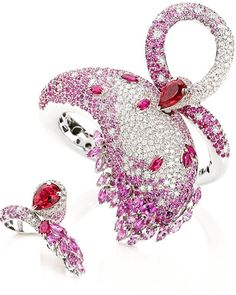 Gismondi Jewellery1754 the Swan Cuff and the Swan Ring from the animalier collection✨ Precious #diamonds #pinksapphires to make those jewels #oneofakind #madeinitaly