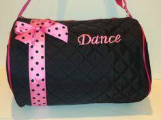 DANCE BALLET DUFFLE BAG KIDS GIRLS BLACK PINK FUCHSIA POLKA DOT BOW BALLERINA