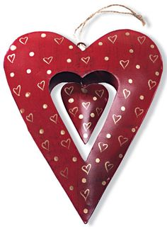 Large red metal heart with cut out
