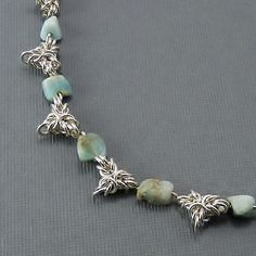 Sterling Silver Crown Byzantine Chain with Larimar Nuggets