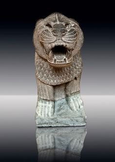 from 9th Cent B.C, Late Hittite Basalt Portal Lion sculpture excavated from Palace Building P Sam'al (Hittite: Yadiya) located at Zincirli Höyük in the Anti-Taurus Mountains of modern Turkey's Gaziantep Province. Istanbul Archaeological Museum inv.