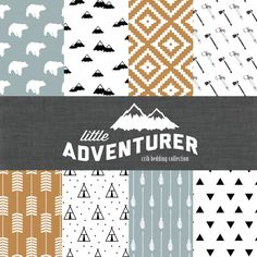 Little Adventurer Crib Bedding Set - Modern Custom Crib Bedding - Blue/Orange/Black - Choose your fabric - CozybyJess Exclusive by CozybyJess on Etsy