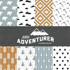 Little Adventurer Crib Bedding Set - Modern Custom Crib Bedding - Blue/Orange/Black - Choose your fabric - CozybyJess Exclusive by CozybyJess on Etsy