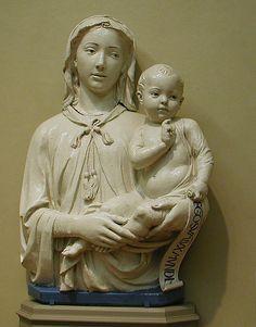 Madonna and Child by Lucca della Robbia, the Italian family of Renaissance artists  #TuscanyAgriturismoGiratola