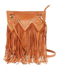 Camel Fringe Leather Crossbody Bag | Something special every day
