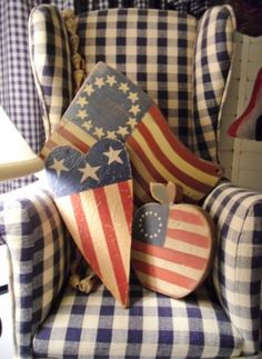 Blue check chair with flag motif wooden objects. Americana All The Way. I Love America, God Bless America, American Pride, American Flag, Yankee Doodle Dandy, Let Freedom Ring, Patriotic Decorations, Holiday Decorations, Star Spangled
