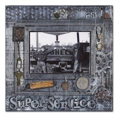 Super Service (Steampunk-Style Layout) Right - Scrapbook.com - #scrapbooking #layouts