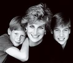 HRH the Princess of Wales and her two beloved sons Prince William and Prince Harry