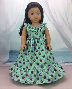 Hawaiian doll dress - American made for your girl doll - perfect Nanea doll tropical dress and hairclip Ankara Styles For Kids, African Dresses For Kids, African Fashion Dresses, American Doll Clothes, Girl Doll Clothes, Doll Clothes Patterns, Girl Dolls, Sundress Pattern, Baby Dress Design