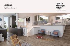 #Wohn- und #Essbereich als eine Einheit zusammen und ebenmässig trotzdem voneinander getrennt. Jenga, Corner Desk, Inspiration, Design, Furniture, Home Decor, Separate, Detached House, Build House