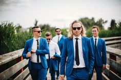 "I like this ""walking"" action groomsman photo. Could have one of bridesmaids too - photo by David Guenther http://ruffledblog.com/leduc-stone-barn-wedding"