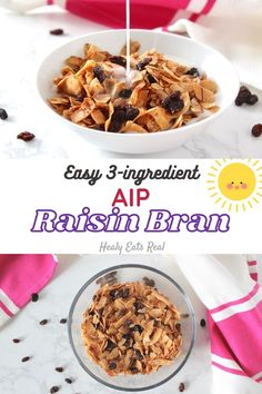 """Easy AIP """"Raisin Bran"""" Breakfast Cereal Recipe--- This quick recipe has only 3 simple ingredients. The result is a crunchy, spiced aip breakfast cereal with bursts of sweet raisins.#aip #breakfast via @healyeatsreal Quick Recipes, Primal Recipes, Other Recipes, Gluten Free Recipes, Whole Food Recipes, Diet Recipes, Dessert Recipes, Healthy Recipes, Raisin Bran Recipe"""