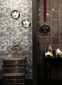 [All Overly Covered Surface] Our Maison stand showing Chiavi Segrete & Nicchie from Fornasetti II by cole & son Fornasetti Wallpaper, Piero Fornasetti, Cole And Son Wallpaper, Love Wallpaper, Fabric Wallpaper, Designer Wallpaper, Gray Interior, Interior Design, Flats