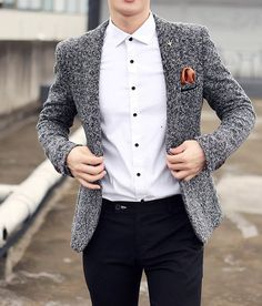 Mens Clothing Blazer Men's Cotton & Wool Casual Blazer Mens Suit zorket is part of Mens winter fashion - Stylish Mens Fashion, Latest Mens Fashion, Mens Fashion Suits, Look Fashion, Mens Suits, Fashion Boots, Cheap Fashion, Fashion Rings, Fashion Clothes