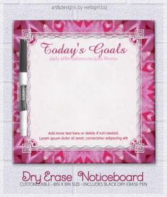 Girl Pink Energize Today's Goals To Do Whiteboard Dry-Erase Board by webgrrl