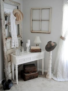 Use an old vintage door as a wall decoration. Lean it against the empty wall to behind the sofa or a console. Place it in the awkward corners and hide odd cables and wires. The door can be repainted to fit the rooms design or left as-is in a shabby decor.