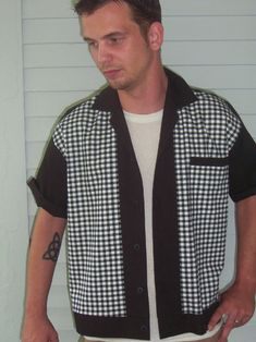 Men's Rockabilly Shirt Jac Black & White Plaid 1950's Style. $28.99, via Etsy.