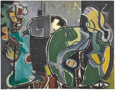 Patrick Heron, Two Women in Café : 1949 Patrick Heron, St Ives, My Favorite Color, All Art, Yorkie, Still Life, Abstract Art, Auction, Texture