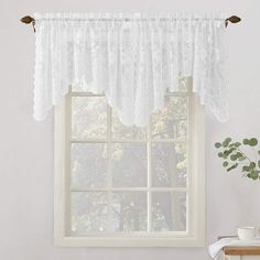 Never Lose Your CHEAP VALANCES Again | CountryCurtains White Lace Curtains, Sheer Valances, Lace Curtain Panels, Country Curtains, Rod Pocket Curtains, Valance Curtains, Bedroom Valances, Country Valances, Scarf Valance