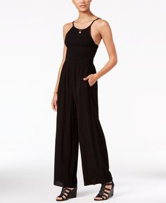 American Rag Smocked Wide-Leg Jumpsuit, Only at Macy's - Juniors Jumpsuits & Rompers - Macy's
