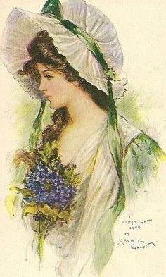 pretty lass by in pastel on Flickr (cc) - ((Vintage Card - 1908))