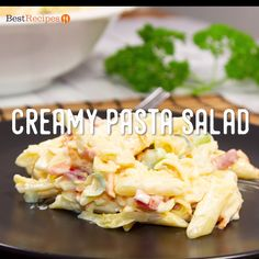 """Easy and Creamy Pasta Salad """"I just love this. It's so quick and easy. Creamy Pasta Salads, Easy Pasta Salad Recipe, Pasta Recipes, Appetizer Recipes, Cooking Recipes, Appetizers, Christmas Pasta, Christmas Salad Recipes, Veggie Soup"""
