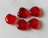 40 pcs 8mm Czech Glass Red Heart Beads - Valentines Day