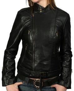 New Vintage Women Slim Biker Motorcycle Soft Leather Zipper Jacket Coat Hot WJ70