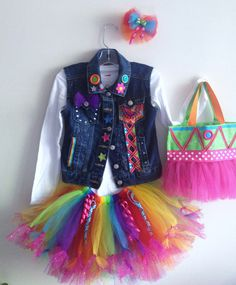 Girls Birthday Tutu Jean Vest outfit size 4-5- 6 -7 or 8 w/ matching Hairbow clip,handbag, Short or Long sleeve top