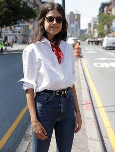 Classic Americana, blue denim + white button-down + red bandana scarf | www.bold-in-gold.com   #boldingoldblog